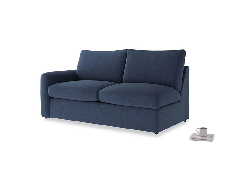 Chatnap Storage Sofa in Navy blue brushed cotton with a left arm