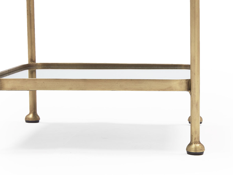 Wonder-Brass side table with mirror and glass top