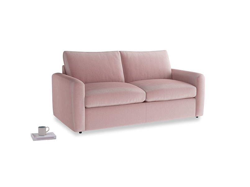 Chatnap Sofa Bed in Chalky Pink vintage velvet with both arms