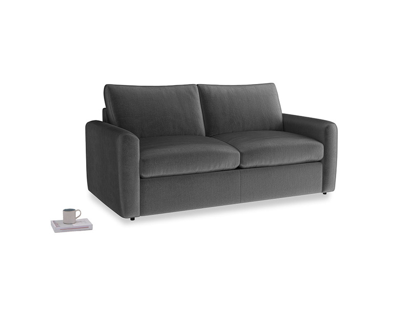 Chatnap Sofa Bed in Scuttle grey vintage velvet with both arms