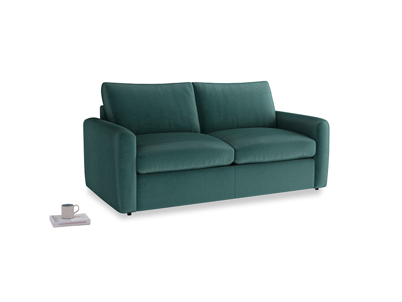 Chatnap Sofa Bed in Timeless teal vintage velvet with both arms