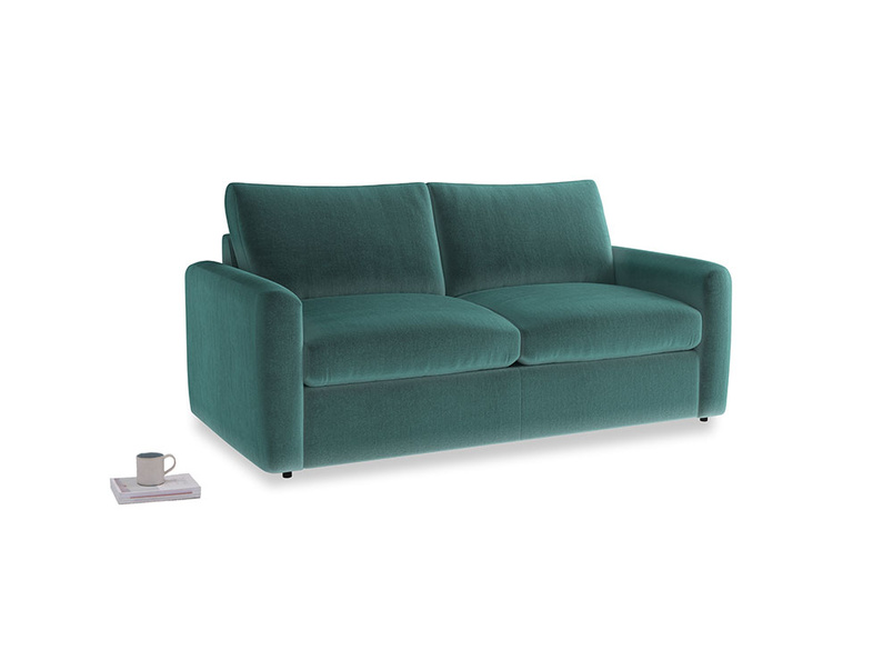 Chatnap Sofa Bed in Real Teal clever velvet with both arms