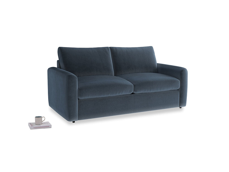 Chatnap Sofa Bed in Liquorice Blue clever velvet with both arms