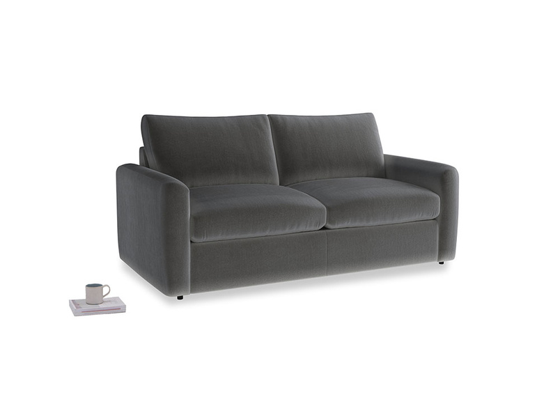 Chatnap Sofa Bed in Steel clever velvet with both arms