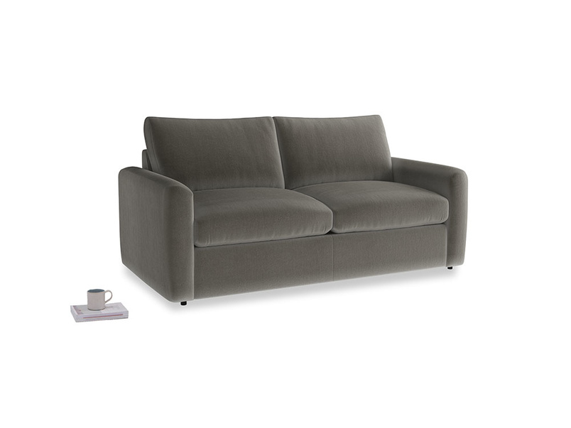Chatnap Sofa Bed in Slate clever velvet with both arms