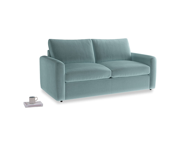 Chatnap Sofa Bed in Lagoon clever velvet with both arms