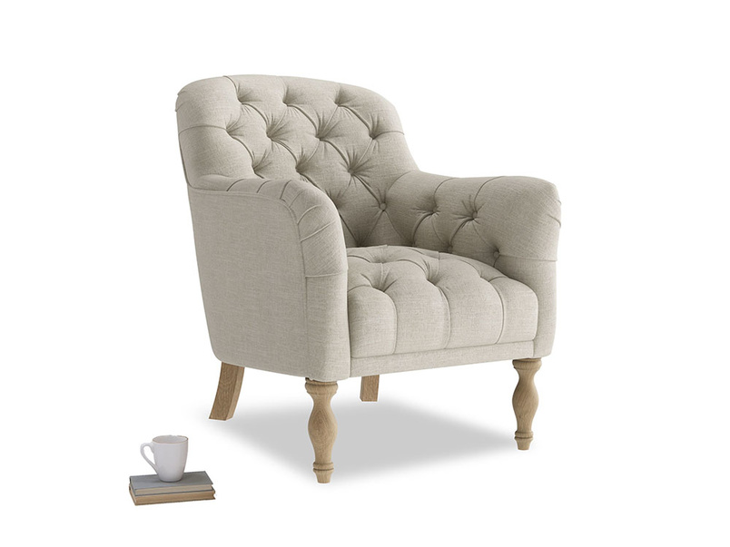 Reader button back armchair