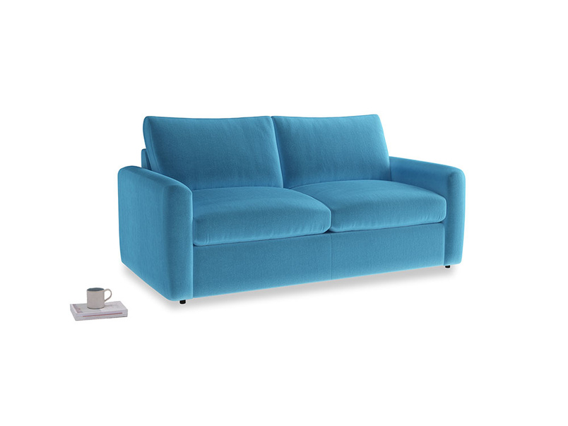 Chatnap Sofa Bed in Teal Blue plush velvet with both arms