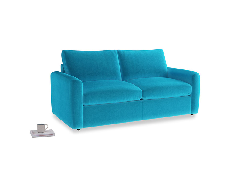 Chatnap Sofa Bed in Azure plush velvet with both arms