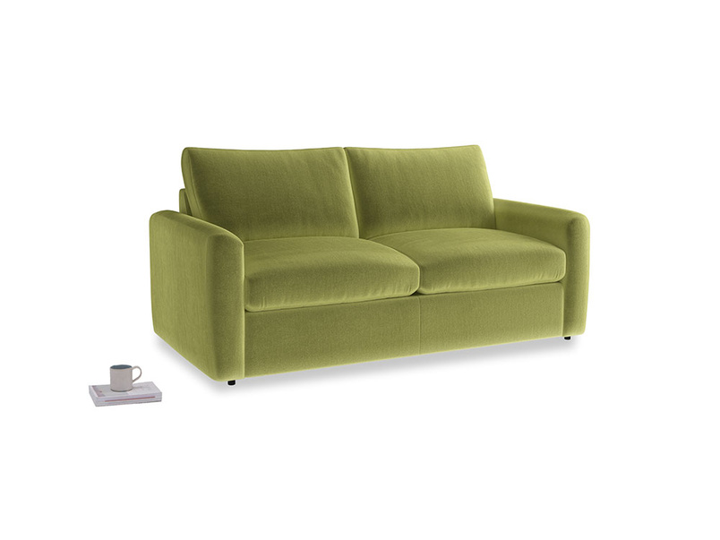 Chatnap Sofa Bed in Olive plush velvet with both arms
