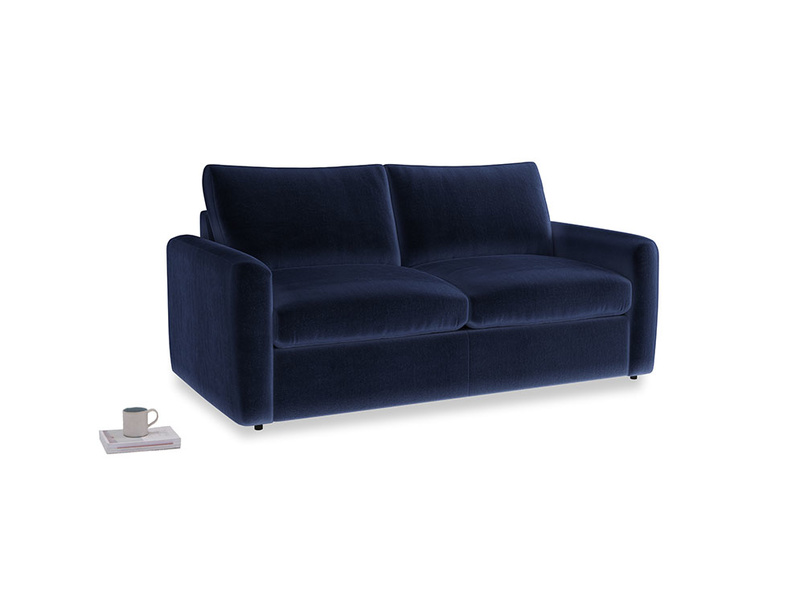 Chatnap Sofa Bed in Midnight plush velvet with both arms