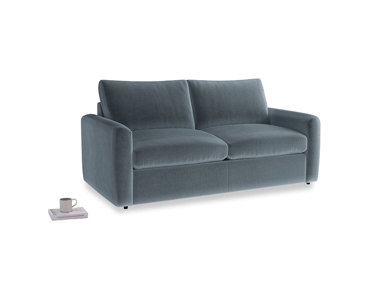 Chatnap Sofa Bed in Mermaid plush velvet with both arms