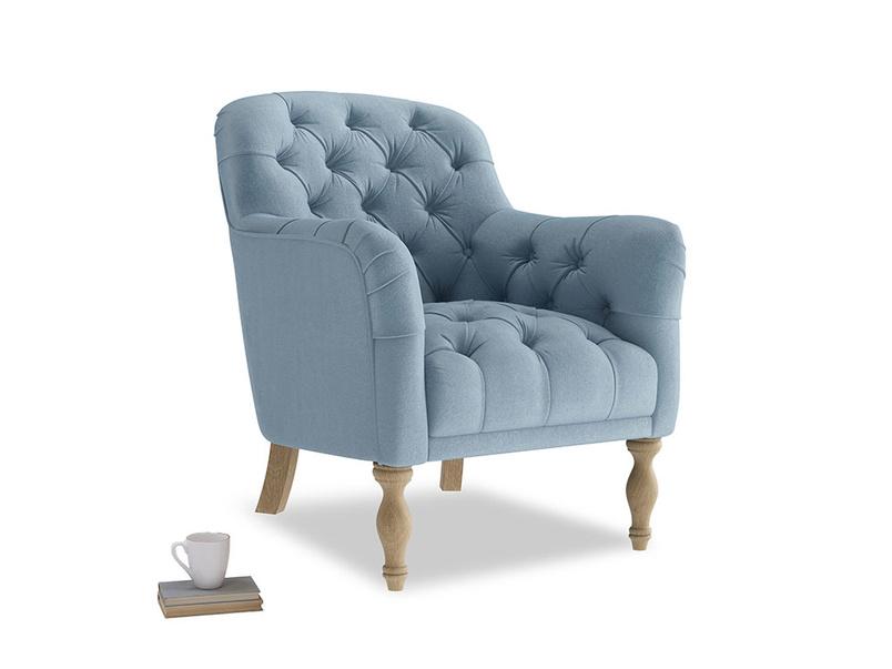 Reader Armchair in Chalky blue vintage velvet