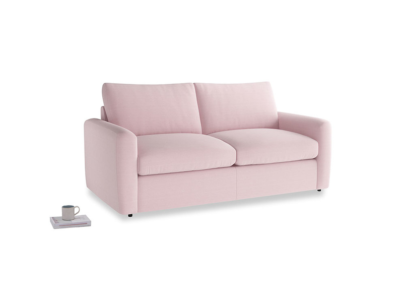 Chatnap Sofa Bed in Pale Rose vintage linen with both arms