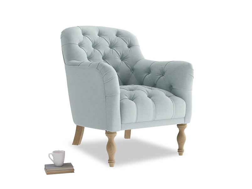 Reader Armchair in Duck Egg vintage linen
