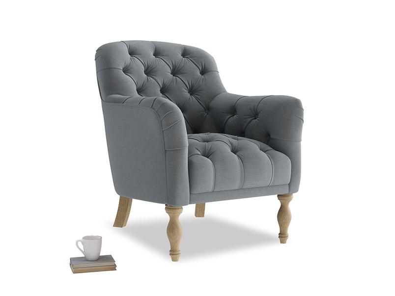 Reader Armchair in Dusk vintage linen