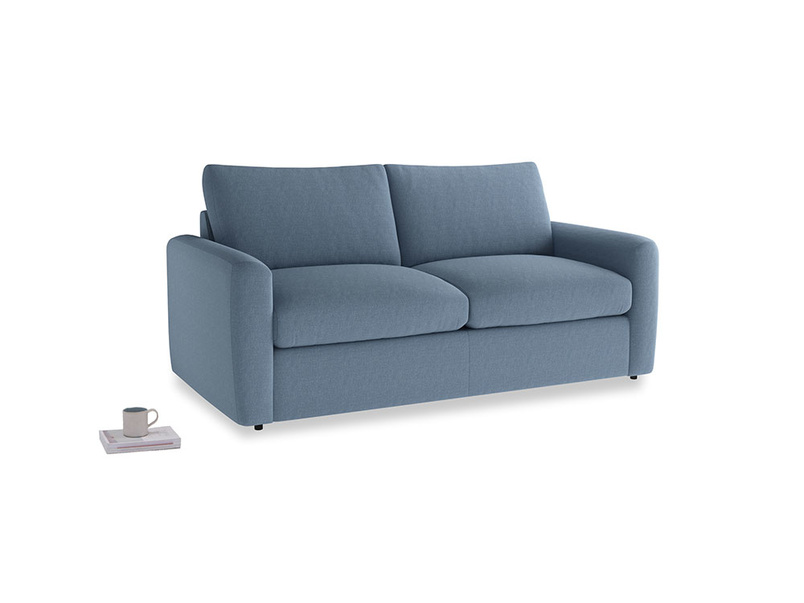 Chatnap Sofa Bed in Nordic blue brushed cotton with both arms