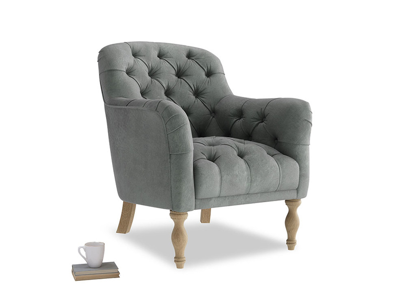 Reader Armchair in Faded Charcoal beaten leather