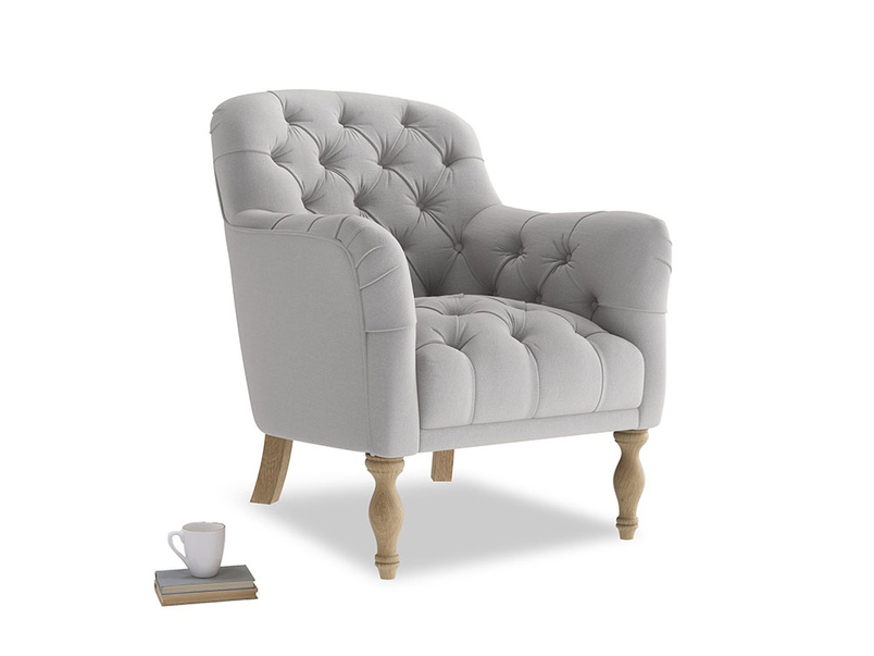 Reader Armchair in Flint brushed cotton