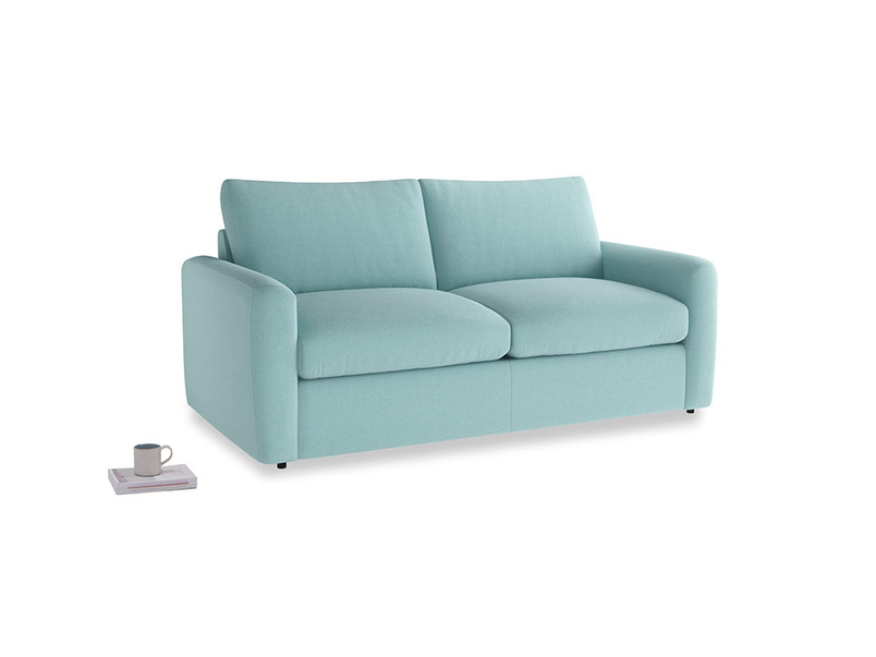 Chatnap Sofa Bed in Adriatic washed cotton linen with both arms