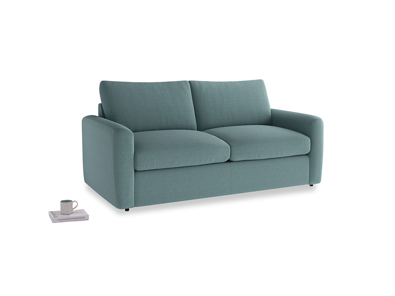 Chatnap Sofa Bed in Marine washed cotton linen with both arms