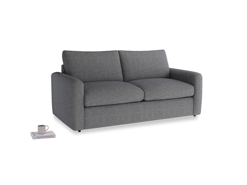 Chatnap Sofa Bed in Strong grey clever woolly fabric with both arms