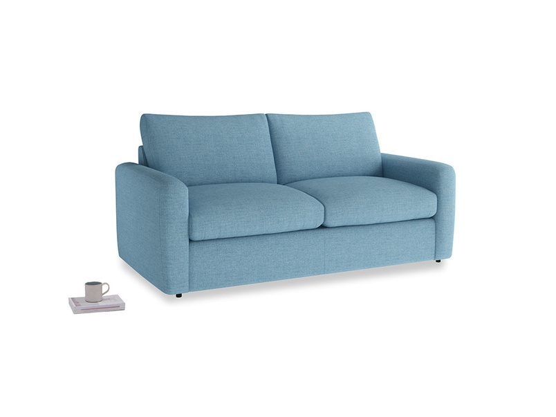 Chatnap Sofa Bed in Moroccan blue clever woolly fabric with both arms