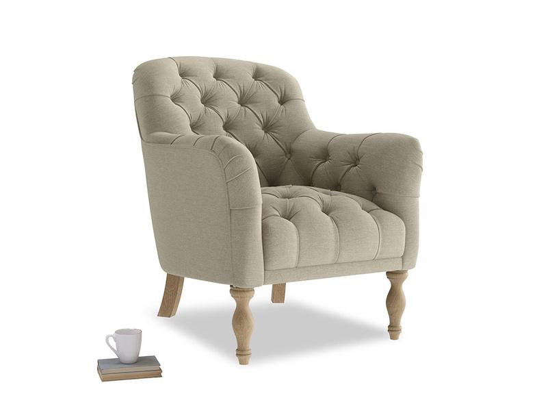 Reader Armchair in Jute vintage linen