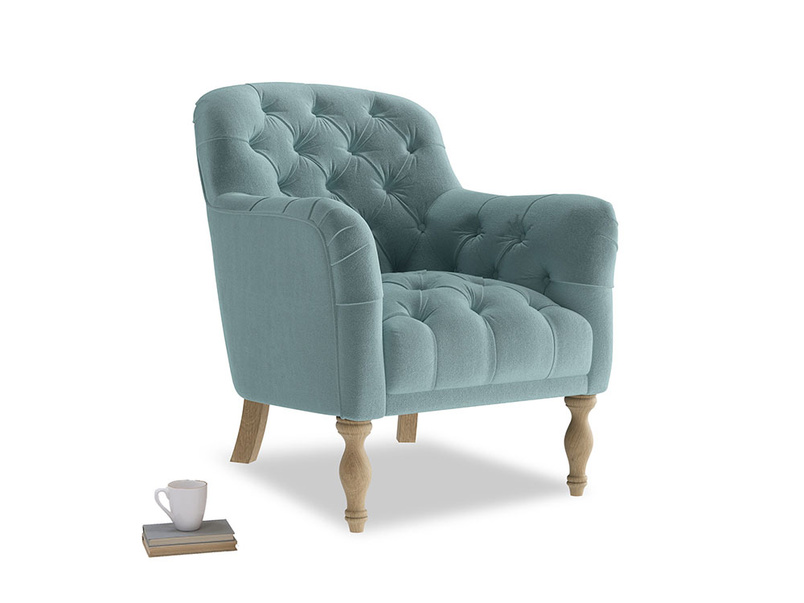 Reader Armchair in Lagoon clever velvet