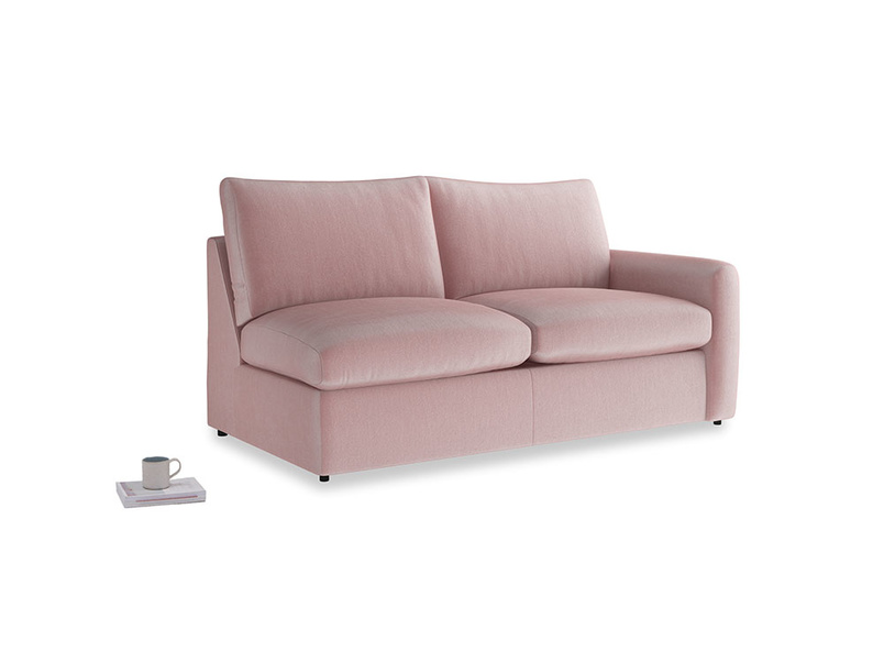 Chatnap Sofa Bed in Chalky Pink vintage velvet with a right arm