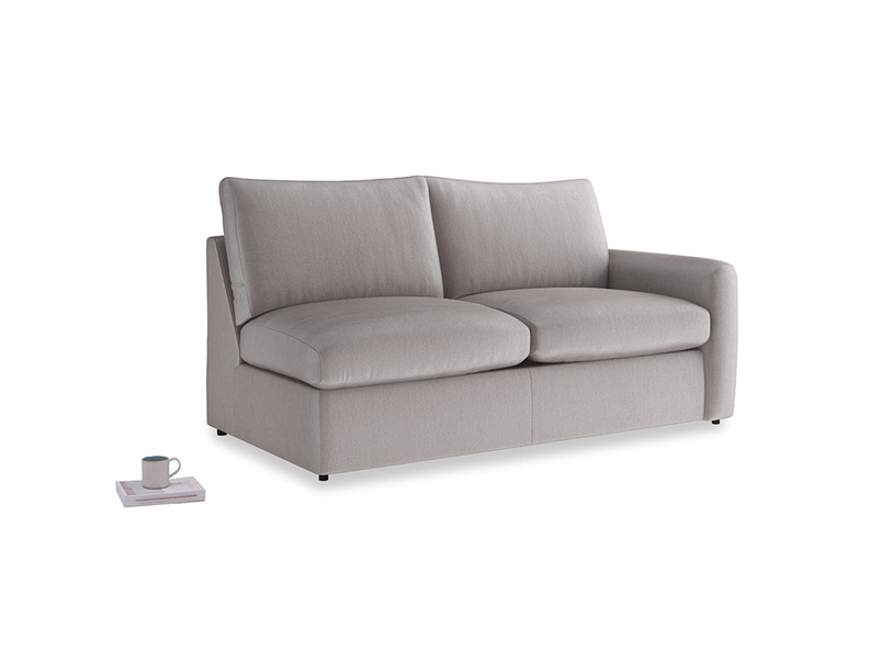 Chatnap Sofa Bed in Soothing grey vintage velvet with a right arm