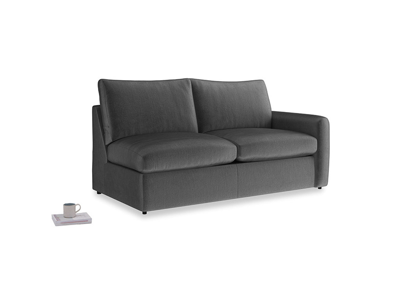 Chatnap Sofa Bed in Scuttle grey vintage velvet with a right arm