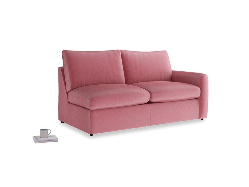 Chatnap Sofa Bed in Blushed pink vintage velvet with a right arm