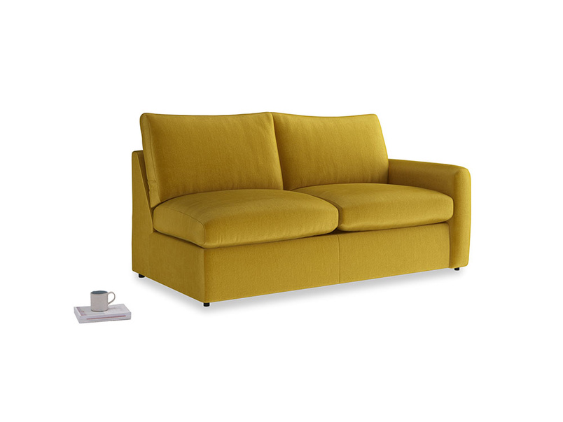 Chatnap Sofa Bed in Burnt yellow vintage velvet with a right arm