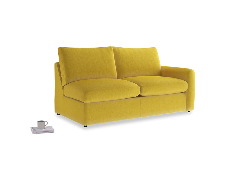 Chatnap Sofa Bed in Bumblebee clever velvet with a right arm