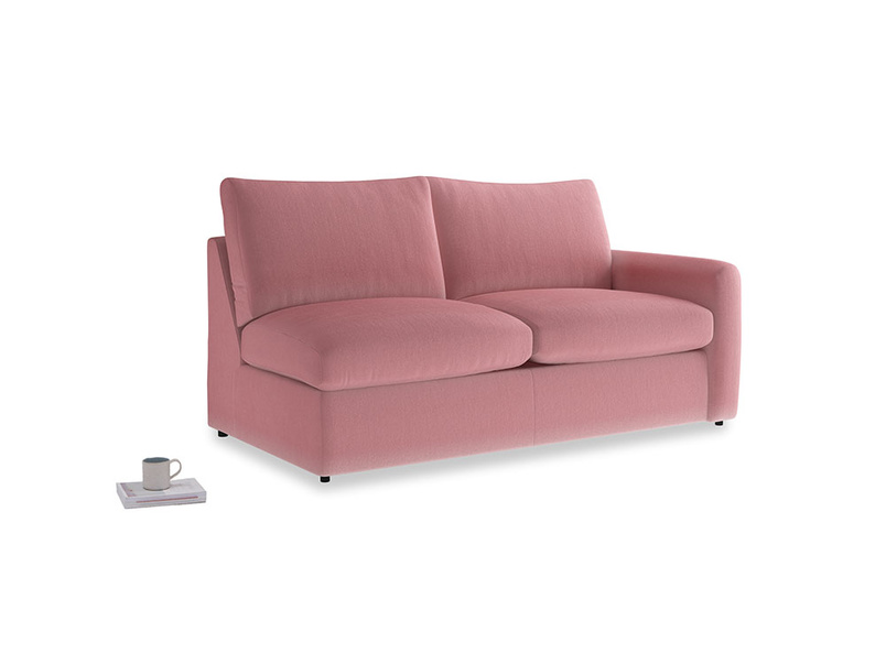 Chatnap Sofa Bed in Dusty Rose clever velvet with a right arm