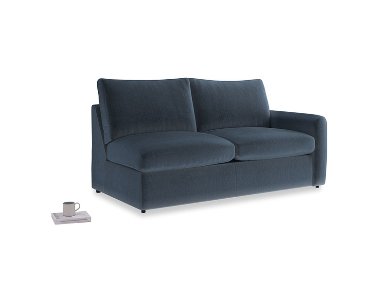 Chatnap Sofa Bed in Liquorice Blue clever velvet with a right arm