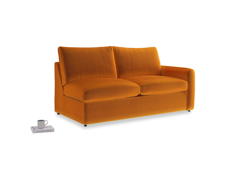 Chatnap Sofa Bed in Spiced Orange clever velvet with a right arm