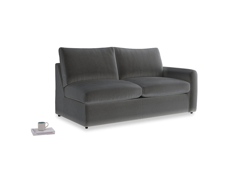 Chatnap Sofa Bed in Steel clever velvet with a right arm