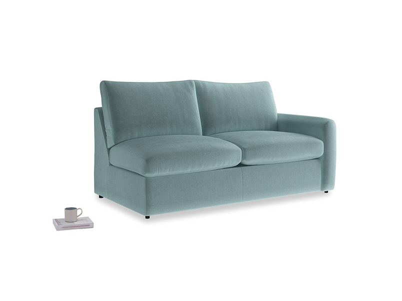 Chatnap Sofa Bed in Lagoon clever velvet with a right arm