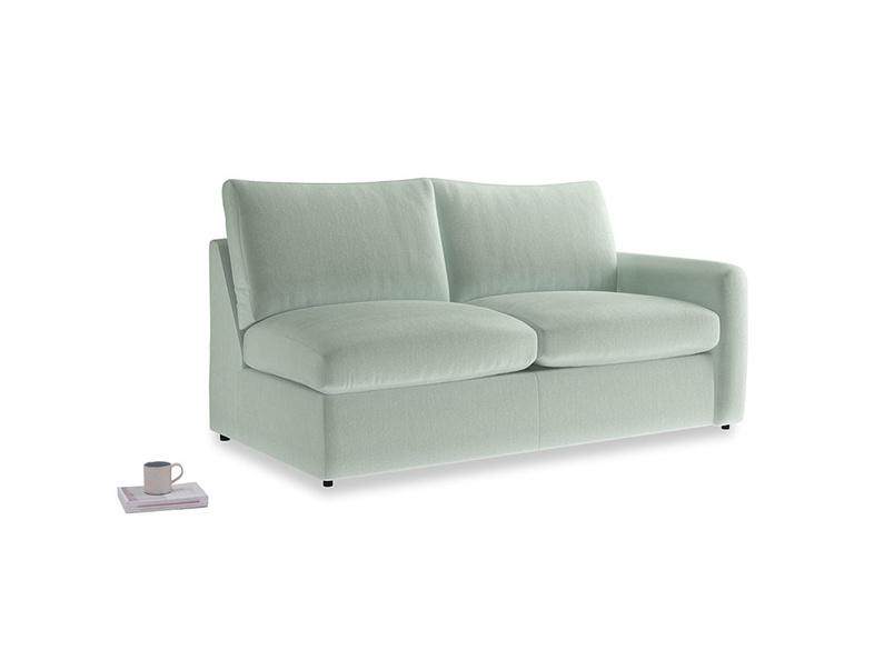 Chatnap Sofa Bed in Mint clever velvet with a right arm