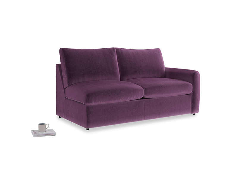 Chatnap Sofa Bed in Grape clever velvet with a right arm