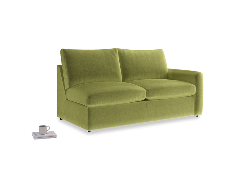 Chatnap Sofa Bed in Olive plush velvet with a right arm