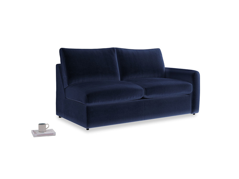 Chatnap Sofa Bed in Midnight plush velvet with a right arm