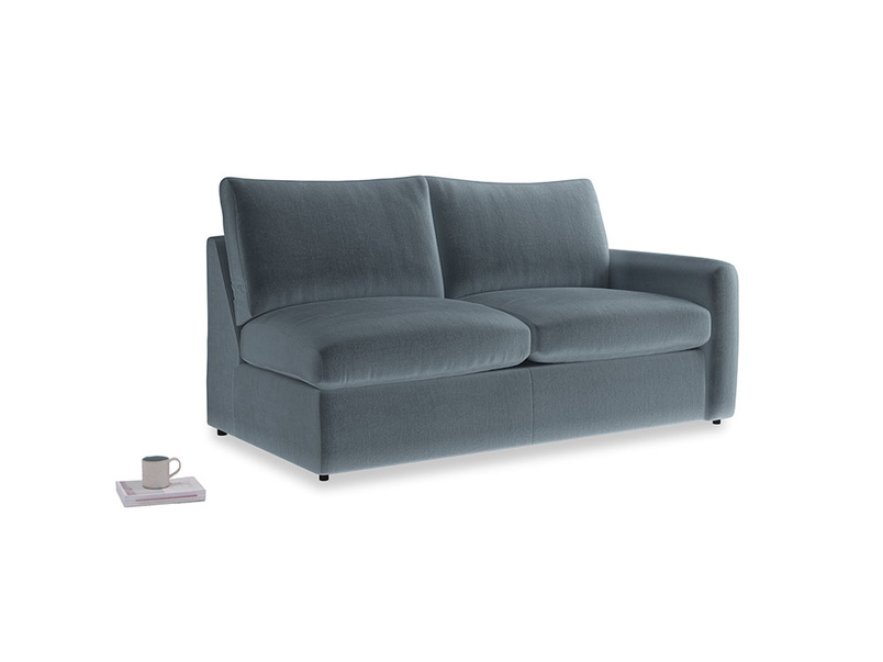 Chatnap Sofa Bed in Mermaid plush velvet with a right arm