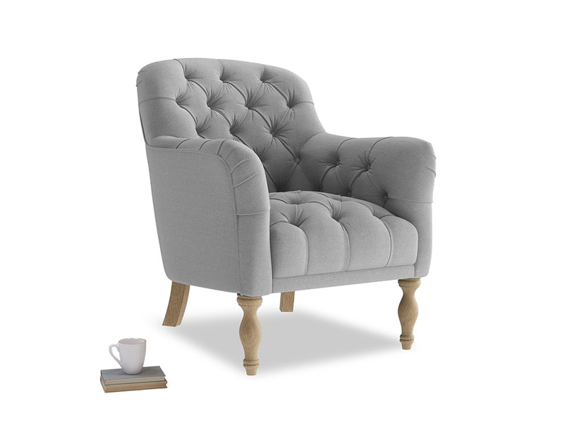 Reader Armchair in Magnesium washed cotton linen