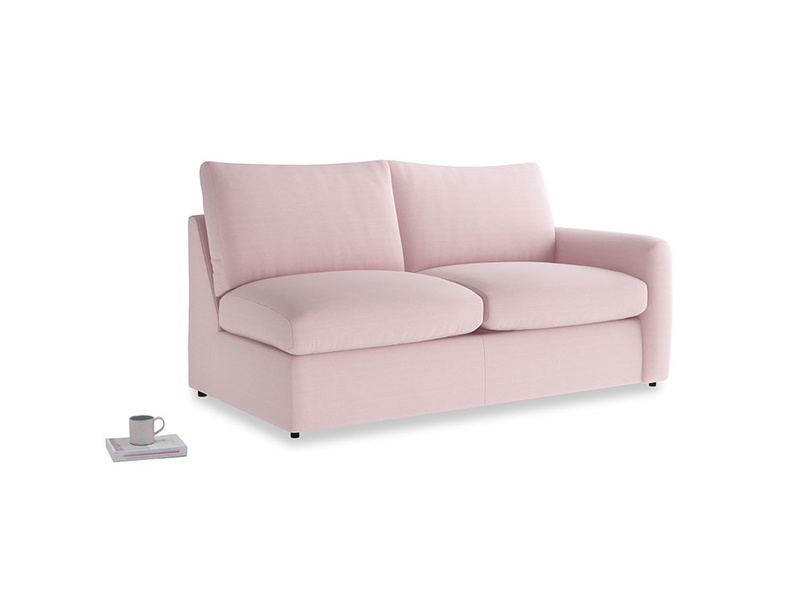 Chatnap Sofa Bed in Pale Rose vintage linen with a right arm