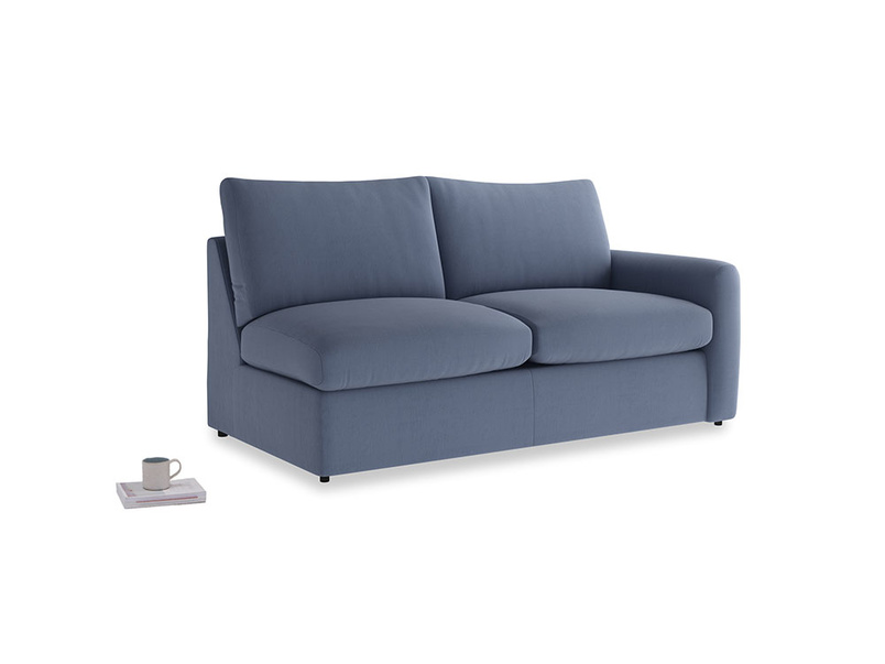 Chatnap Sofa Bed in Breton blue clever cotton with a right arm