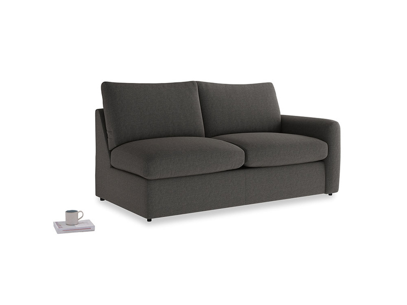 Chatnap Sofa Bed in Old Charcoal brushed cotton with a right arm