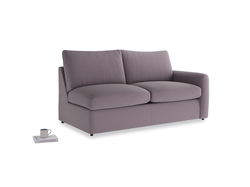 Chatnap Sofa Bed in Lavender brushed cotton with a right arm